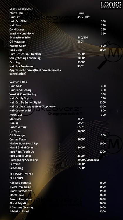 looks unisex salon price list