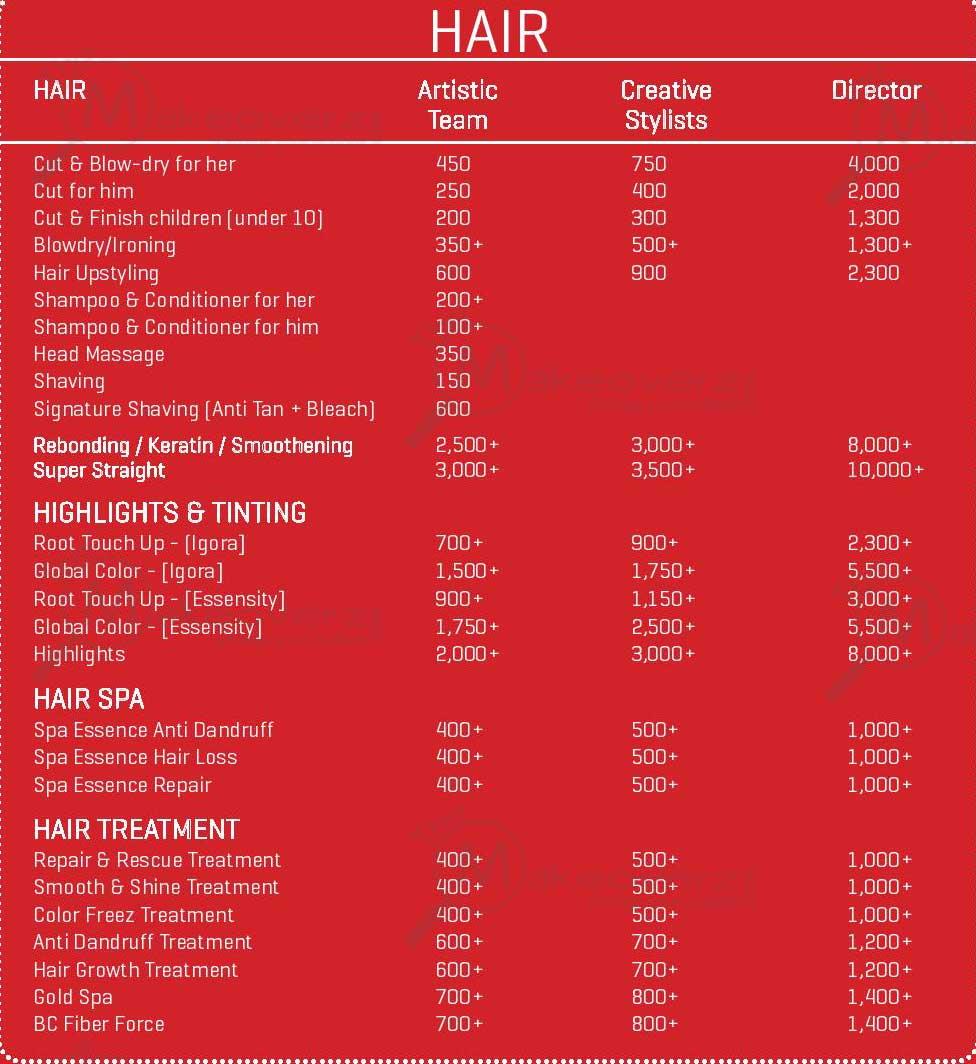 monsoon salon rate list