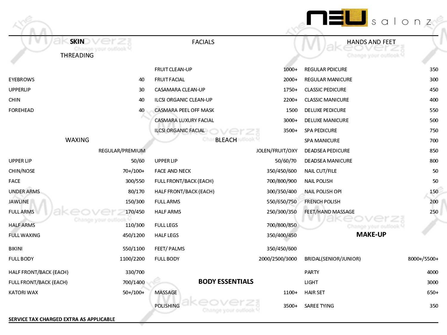 Neu Salonz price list