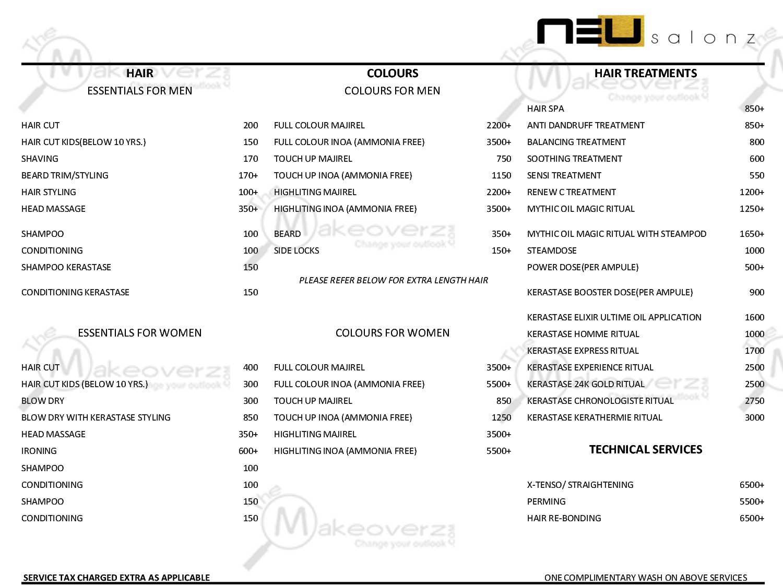 Neu Salonz price list