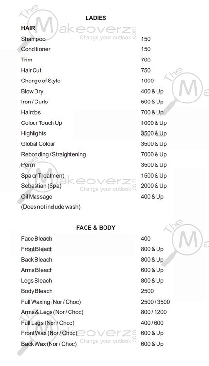 prise list for women face & body in affinity global foyer mall