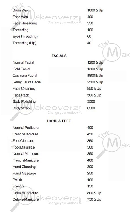 prise list for women face & body in affinity Khan Market