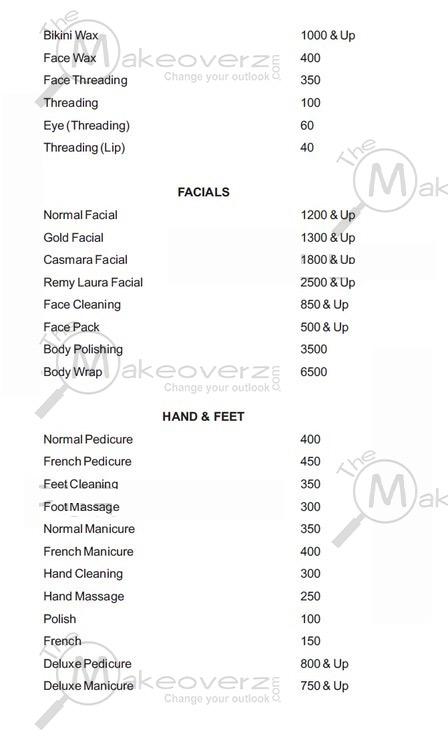 prise list for women face & body in affinity Khan Market