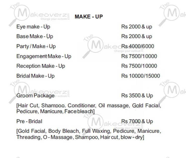 prise list for makeup in affinity defence colony