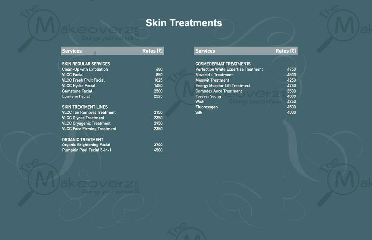 vlcc salon skin treatments price list