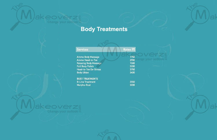 vlcc salon body treatments price list