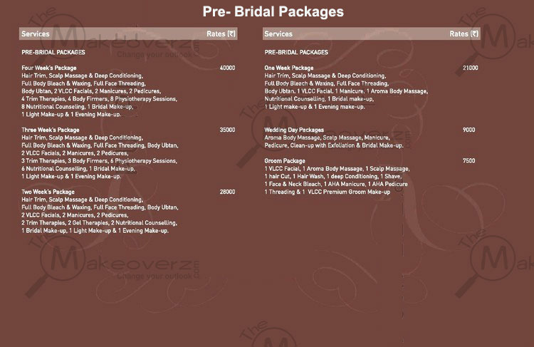 vlcc salon pre-bridal packages price list