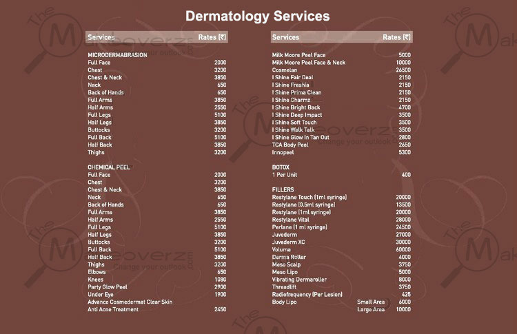 vlcc salon dermatology services price list