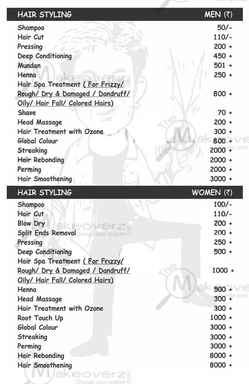 jh hairxpreso hair cut rate list