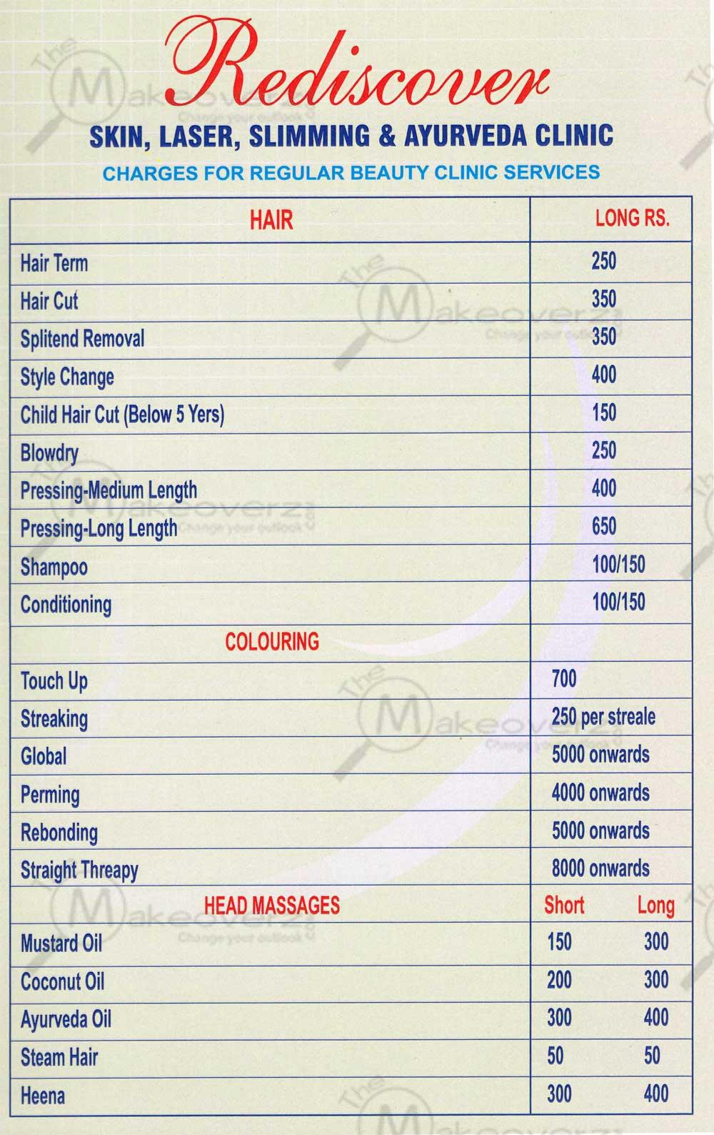 rediscover salon rate list