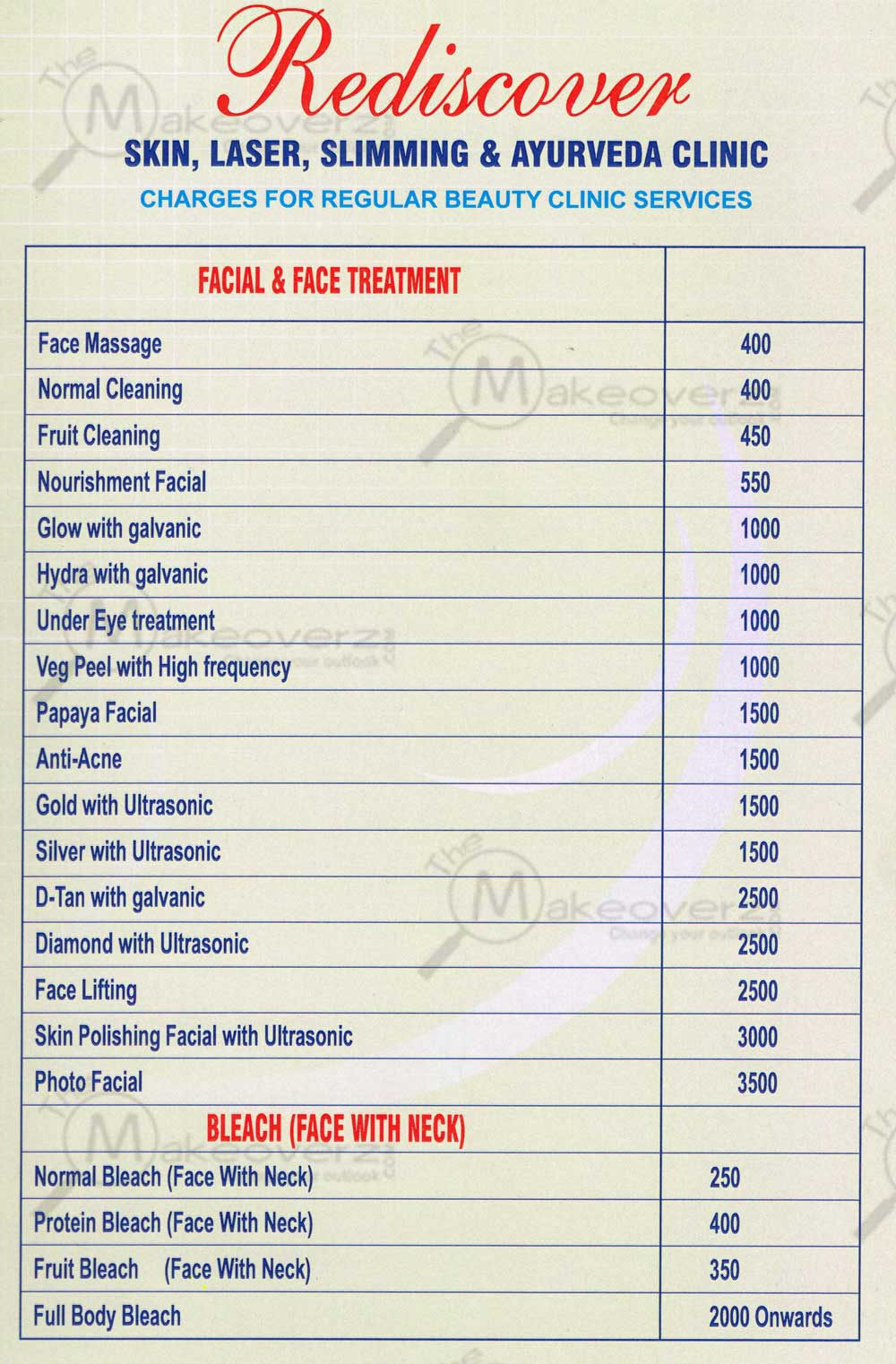 rediscover salon rate list