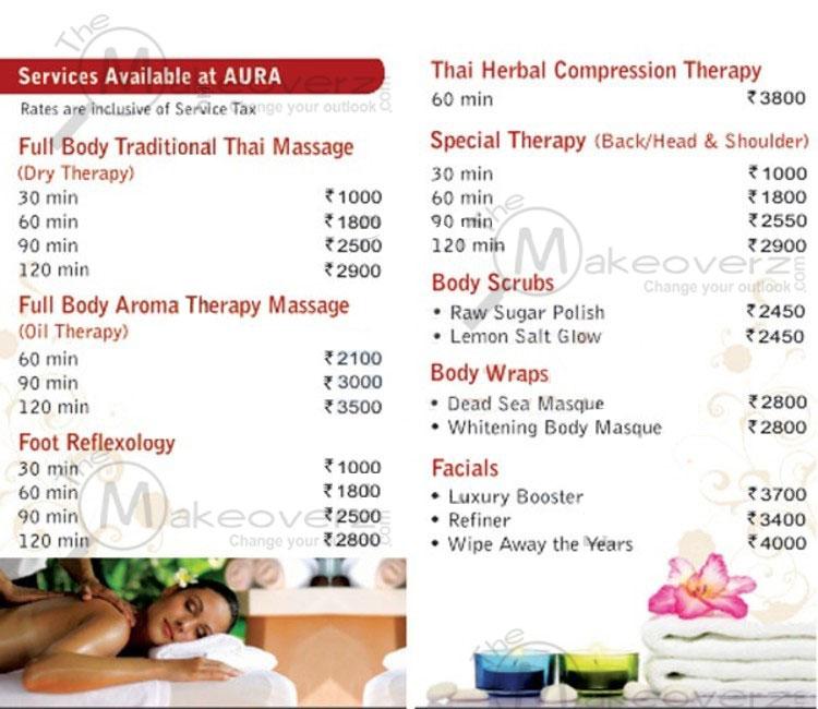 aura thai spa price list