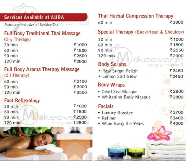 aura thai spa price list