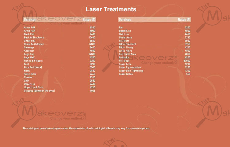 VLCC Laser Treatment Price List