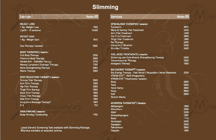 VLCC Slimming Price List