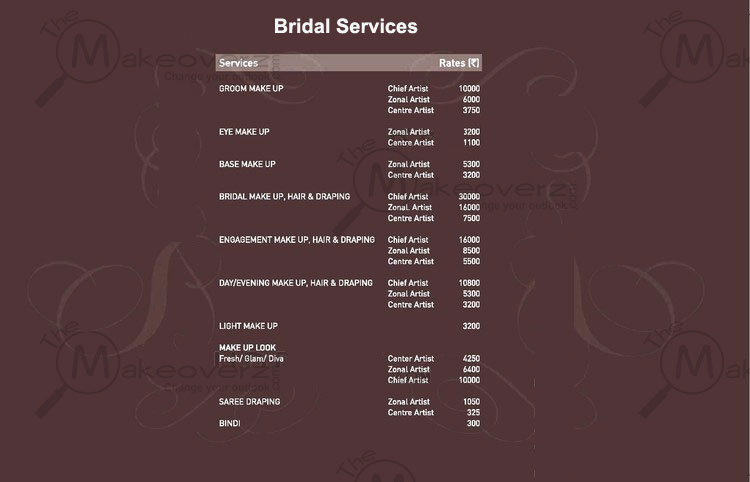 VLCC Bridal Services Price List