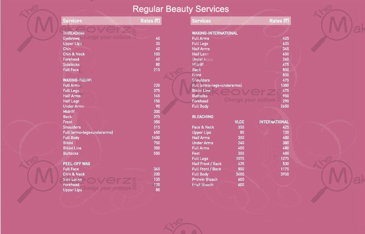 VLCC Beauty Services Price List