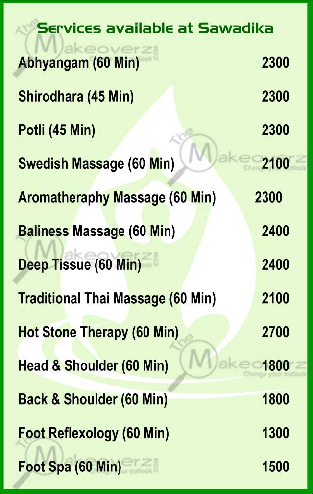 sawadika spa rate list