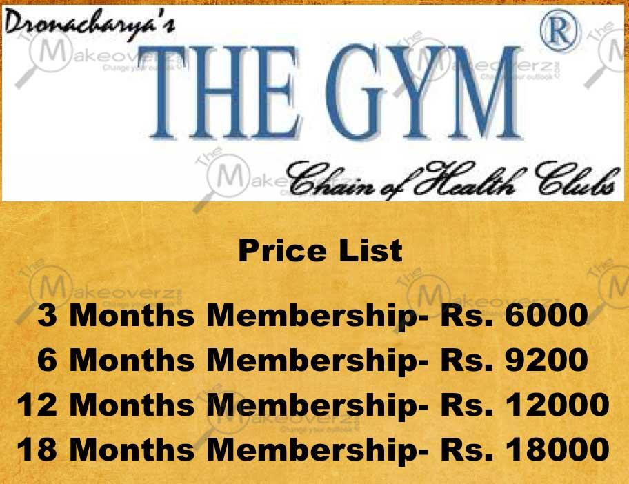 Dronacharya the gym Rate list