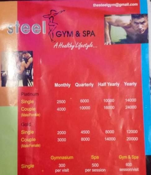 steel gym & spa rate list