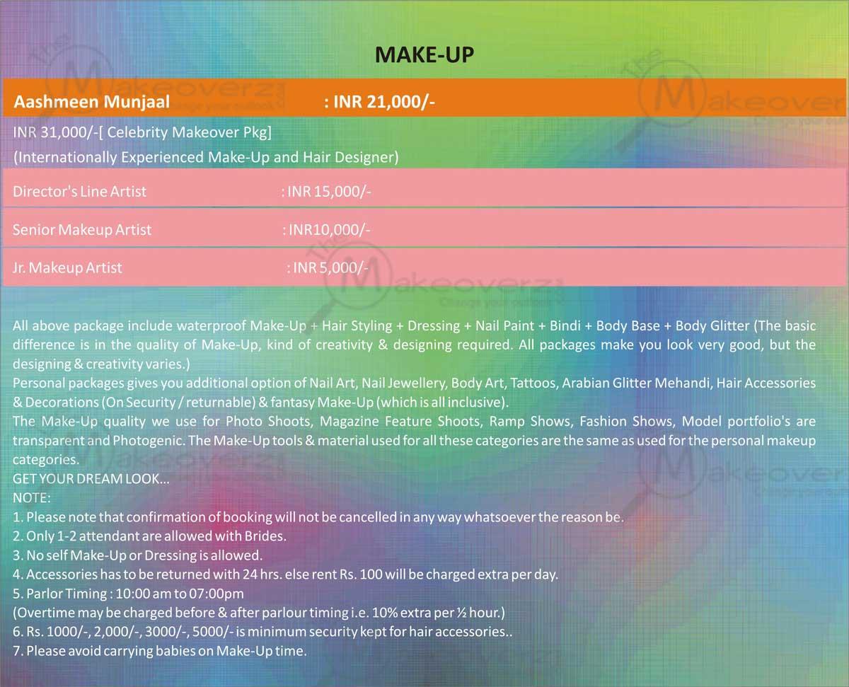 Aashmeen Munjaal's Star Salon rate list