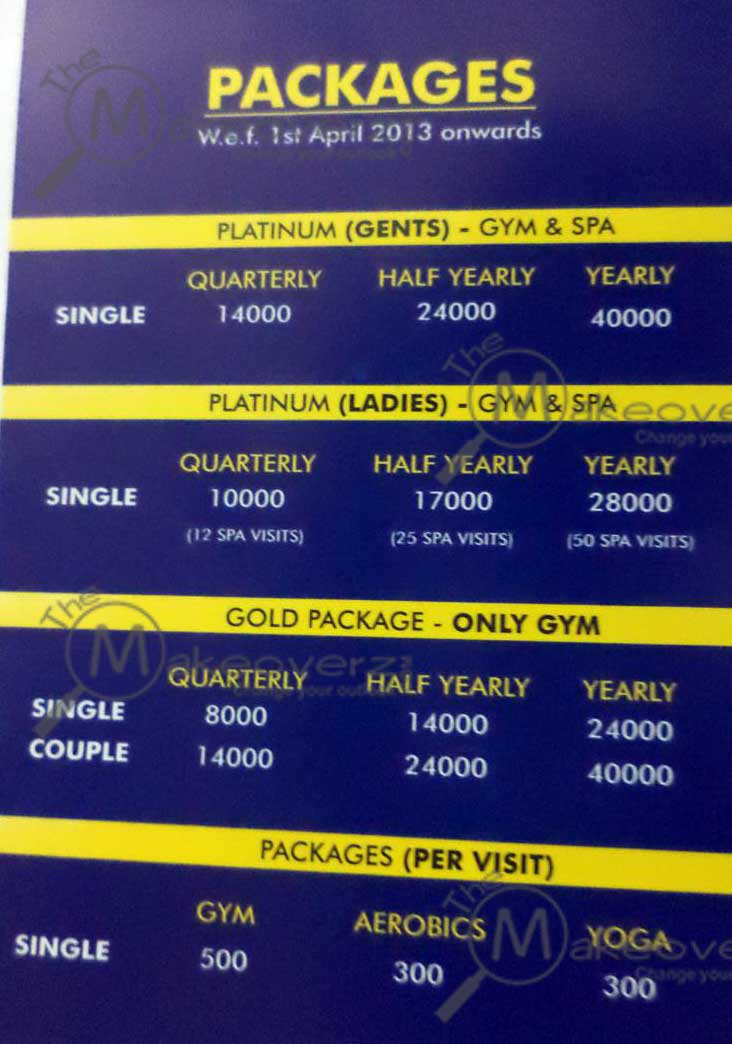 fitstop gym & spa rate list