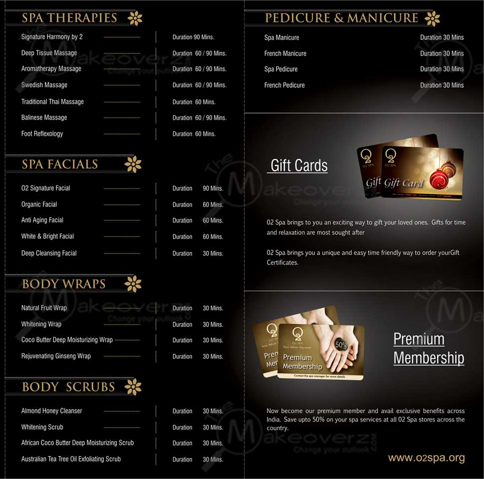 price list of O2 Spa