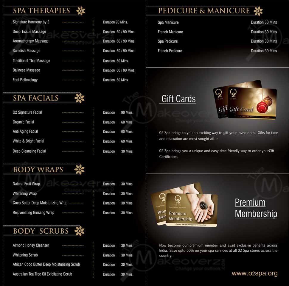 price list of O2 Spa