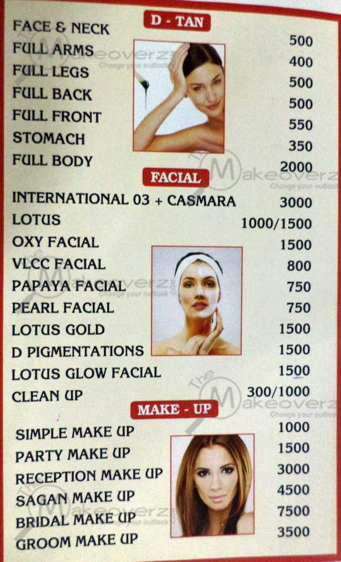 lee salon n spa facial & makeup price list