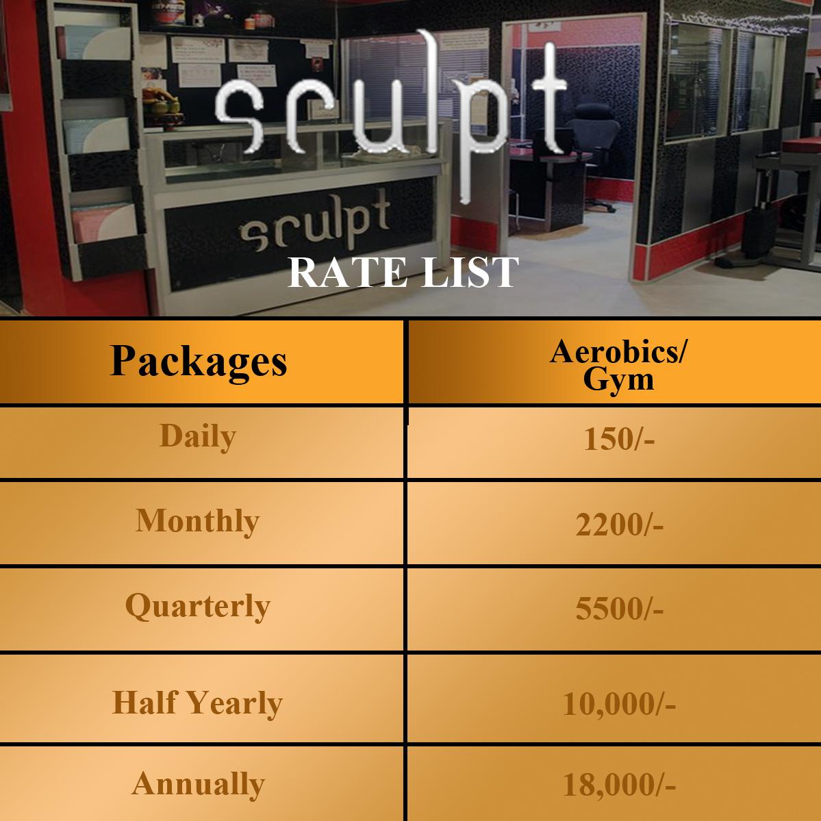Sculpt gym Rate list