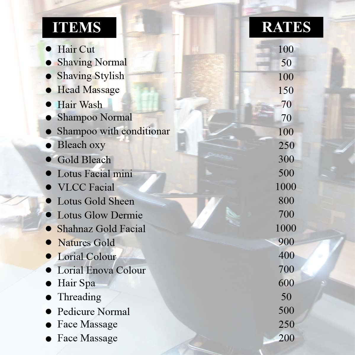 rate list of m point man salon in gurgaon