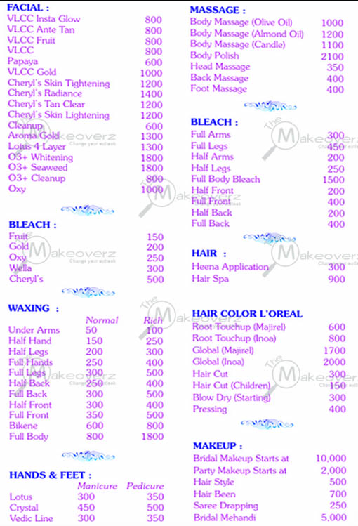 Glamsquad Beauty Services - Rate list