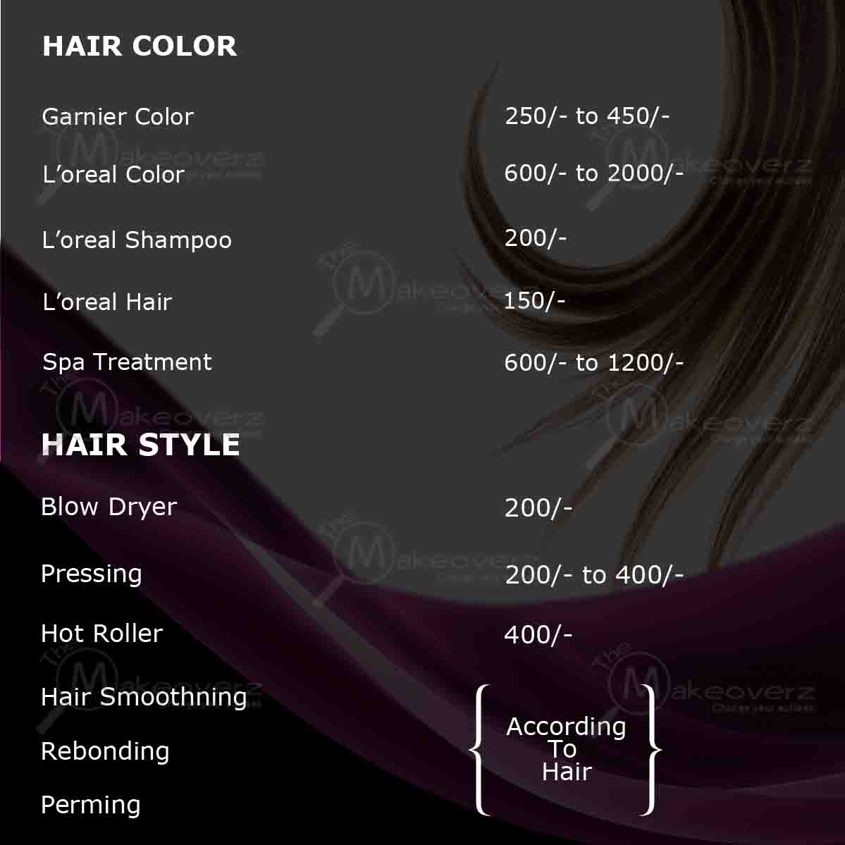 rate list for hair color by exclusive makeovers dwarka