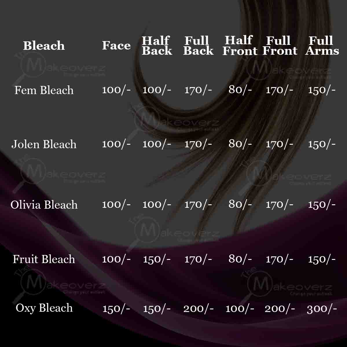 bleach rate list by exclusive makeovers dwarka