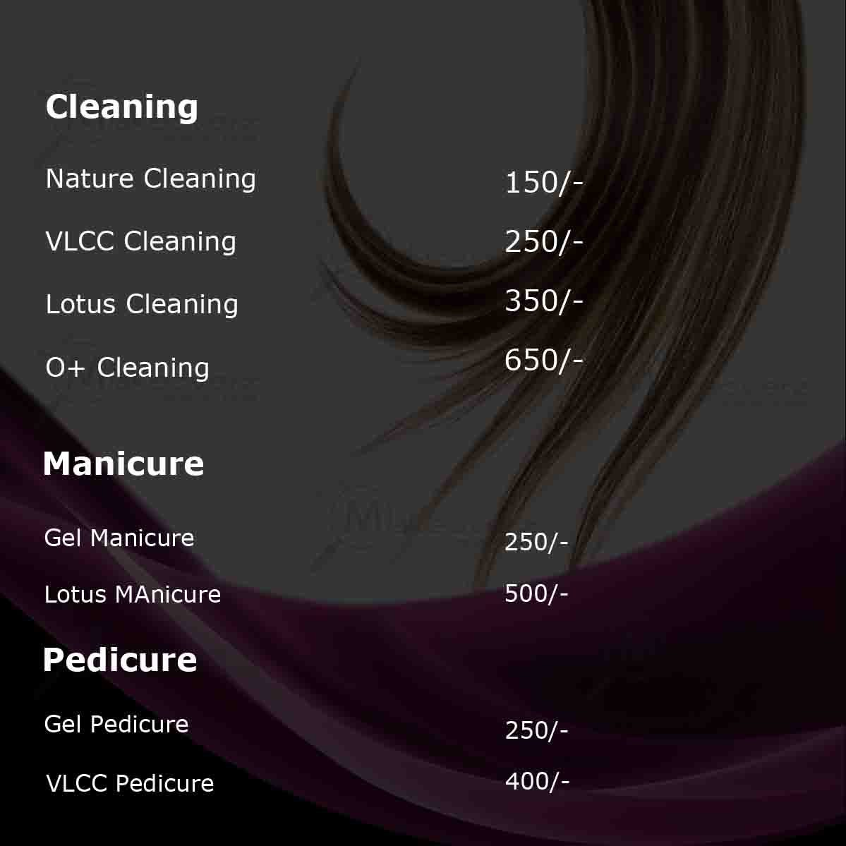 manicure & pedicure rate list by exclusive makeovers dwarka