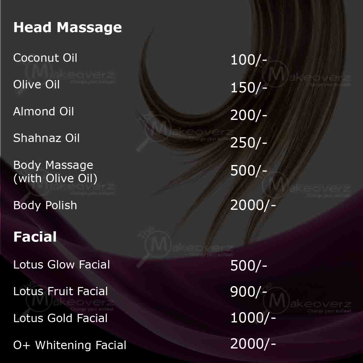 rate list for Facial & Head Massage by exclusive makeovers dwarka