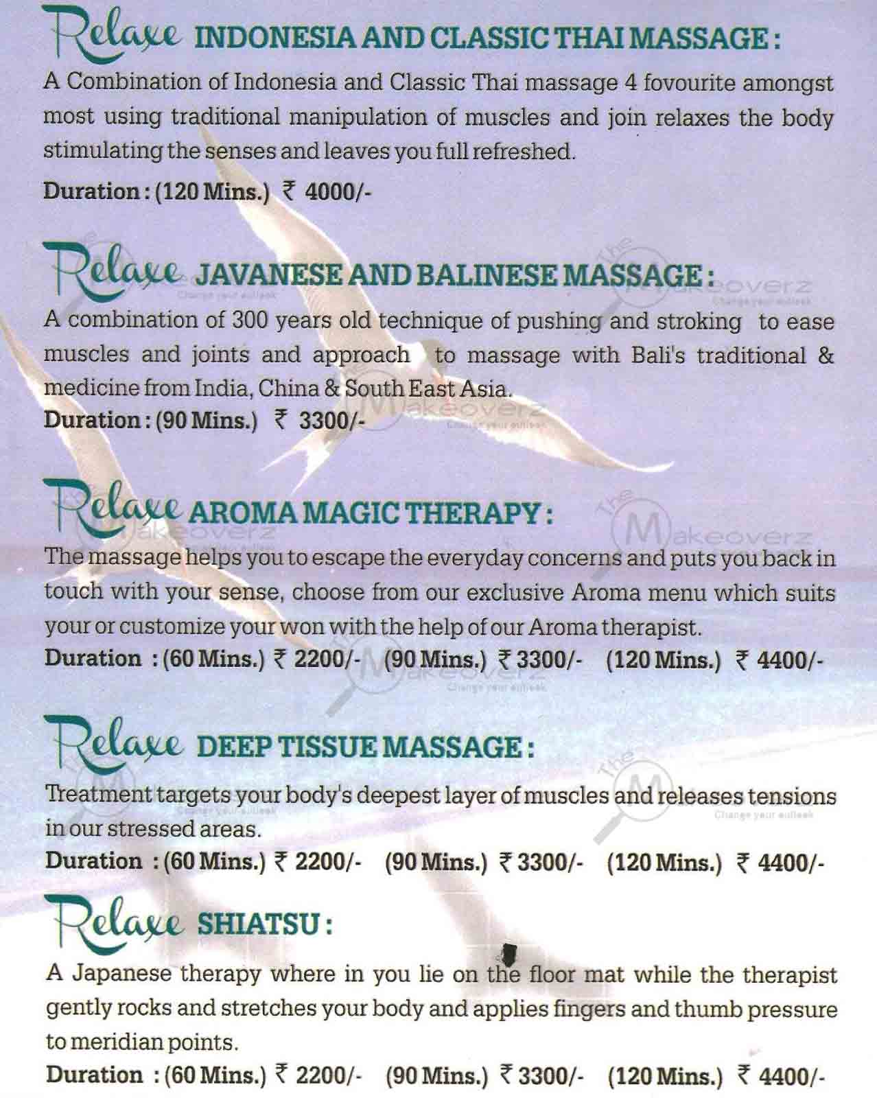 rate list of relax spa in Metropolitan Mall Gurgaon