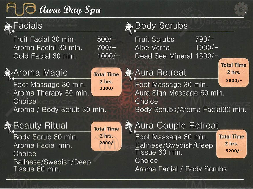 rate list of aura day spa