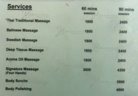 rate list of spa desante
