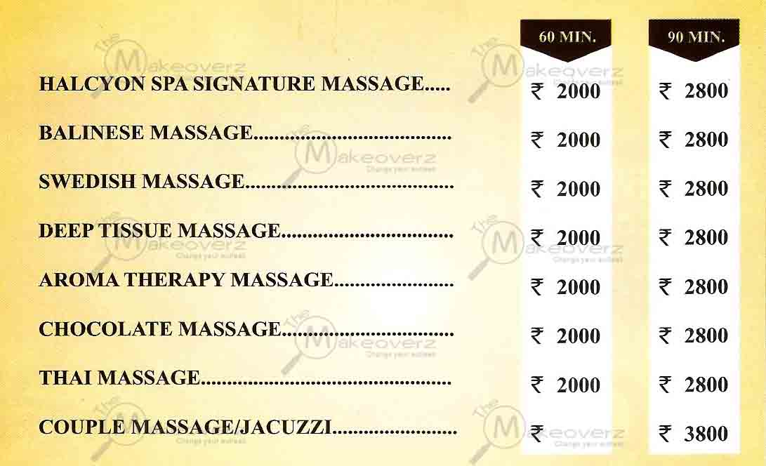halcyon spa rate list