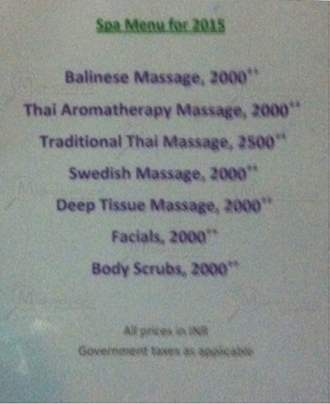 rate list of indulge spa mg road gurgaon