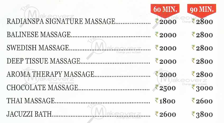 price list of radian spa metropolitan mall mg road gurgaon