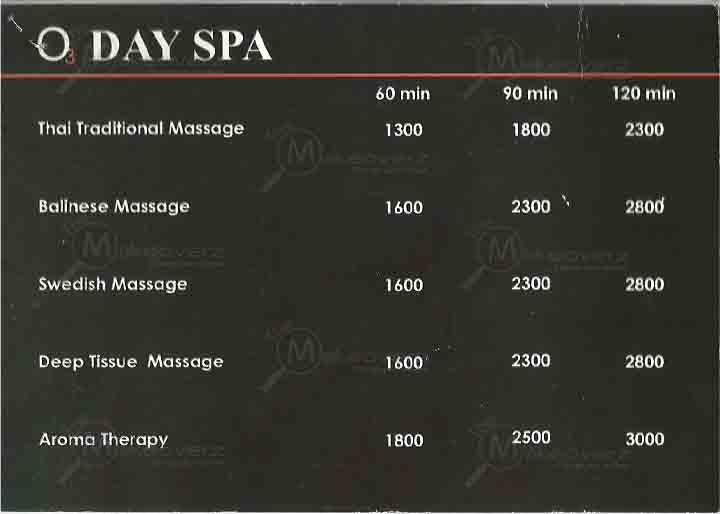 price rate of O3 Day Spa