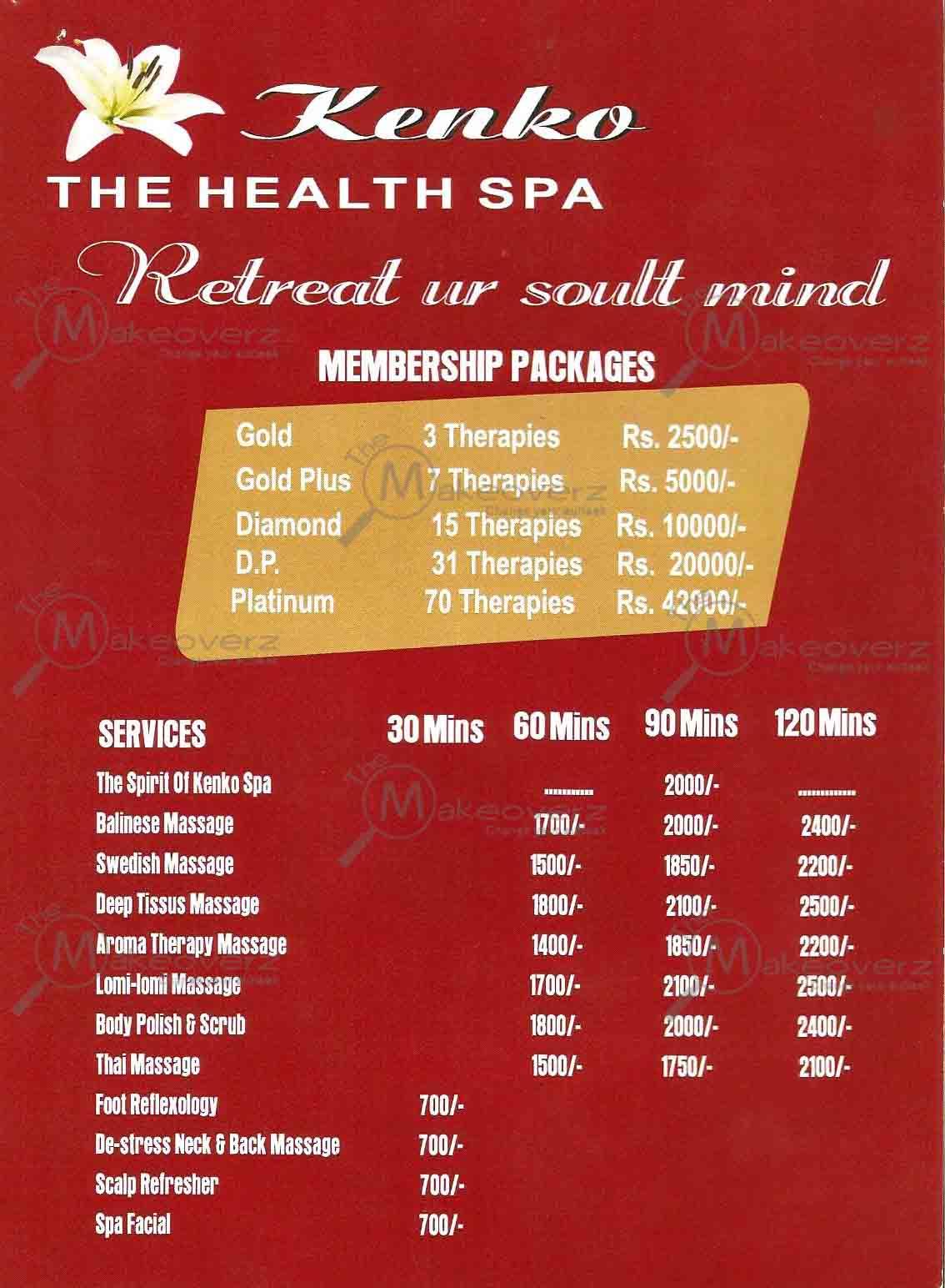 Kenko The Health Spa - Palam Vihar - rate list