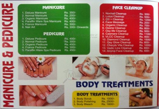 Manicure & pedicure & body treatments price list in avion unisex salon