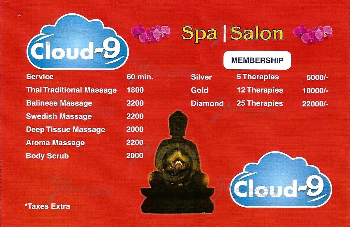 Cloud 9 Spa Price List