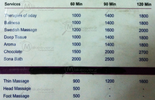 O Day Spa & Wellness- rate list