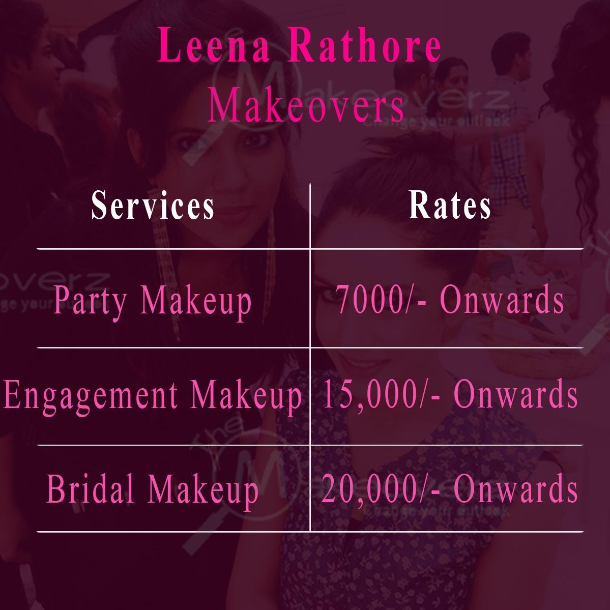 Leena Rathore Makeup Artist rate list - Saket