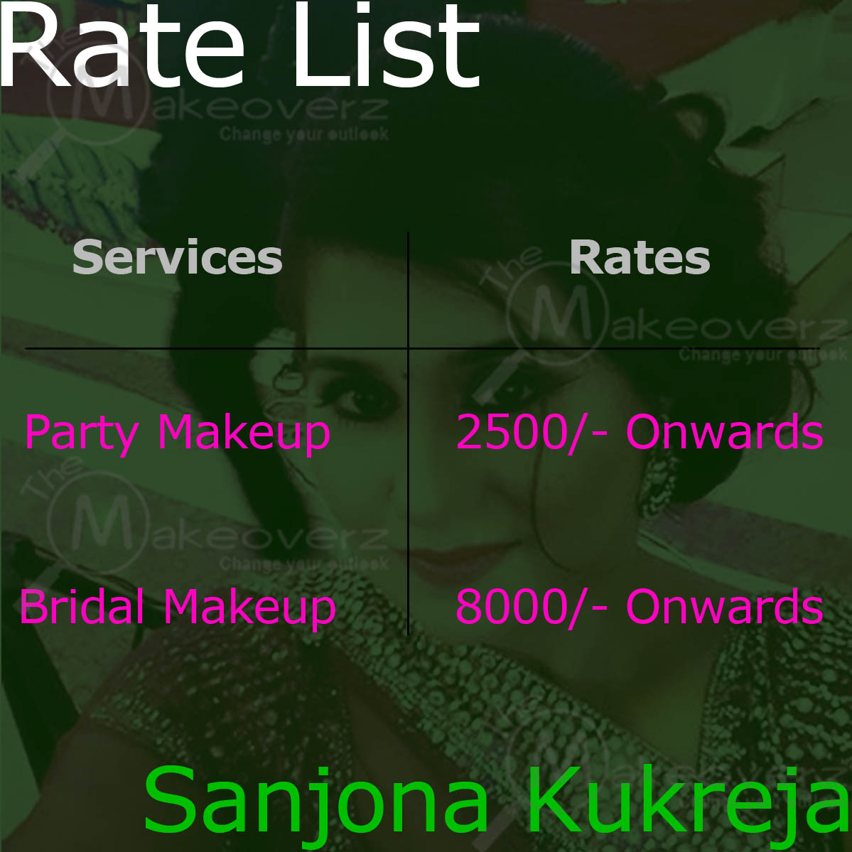 Makeup by Sanjona rate list