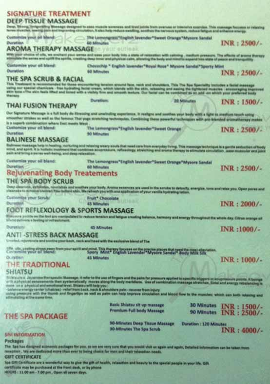 The Spa - Star Mall - rate list
